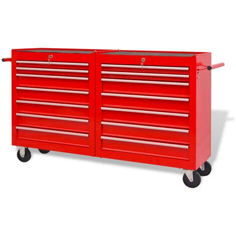 Chariot à outils pour atelier 14 tiroirs Taille XXL Acier Rouge