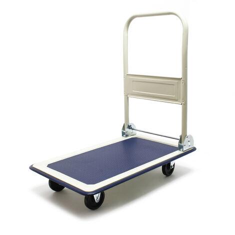 Chariot à plateforme rabattable jusqu'à 300kg Transport Équipement Entrepôt Diable Roues caoutchouc