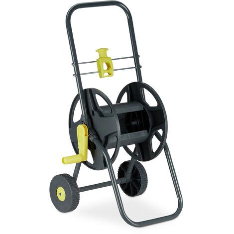 """main image of """"Chariot à tuyau 45 m, Roulettes pour le jardin & le balcon, avec roues, 76,5x44x41 cm, arrosage, gris - jaune"""""""