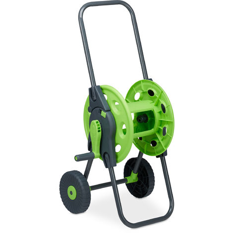 chariot à tuyaux, Accessoire d'arrosage pour 45m, 1/2 pouces, jardin, 82,5 x 43 x 34 cm, gris-vert