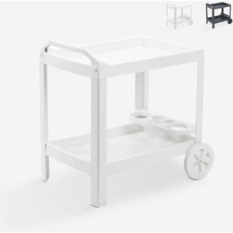 Chariot alimentaire en plastique 2 étagères avec roues Progarden Astro   Blanc