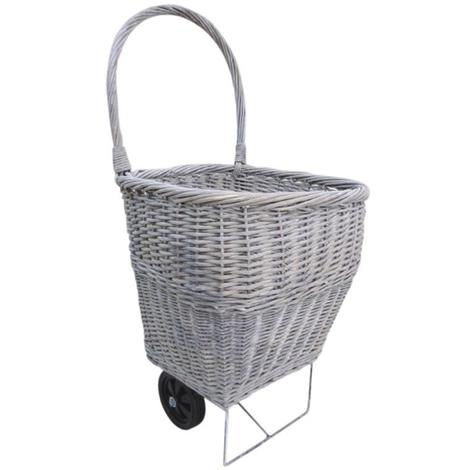 Chariot ? b?ches en osier coloris gris - Dim : 48 x 50 x 45 cm