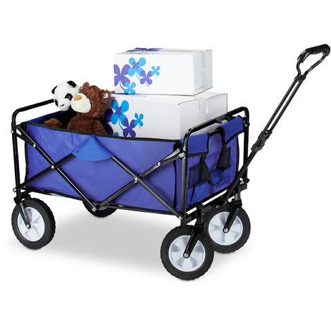 Chariot charrette de jardin 360° mobile voiturette pliable 4 roues avec poignées HxlxP: 55 x 83 x 51,5 cm, bleu