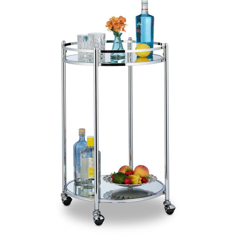 Relaxdays - Chariot cuisine, rond, desserte avec 2 étages, acier, bar roulant avec 4 roulettes, métal, 75 x 50 cm, argenté