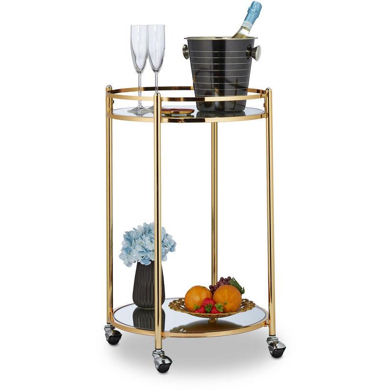 Relaxdays - Chariot cuisine, rond, desserte avec 2 étages, acier, bar roulant avec 4 roulettes, métal, 75 x 50 cm, doré
