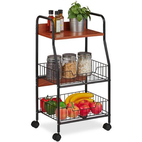 Chariot cuisine sur roulettes, 3 étages, d'appoint, en métal et MDF, HlP 76x39,5 x 30 cm, choix de couleurs
