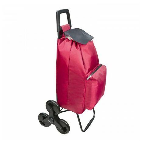 Chariot d'achat 6 roues monte escaliers bordeaux 54 litos chariot d'achat polyester 1650d avec sac thermique refroidissement