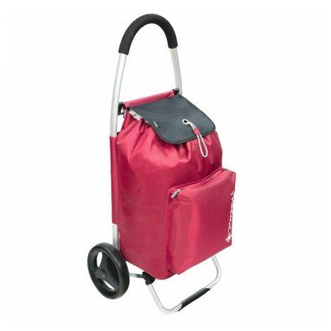 Chariot d'achat en aluminium avec crochets 2 roues bordeaux 50 litos chariot d'achat avec sac thermique refroidissement