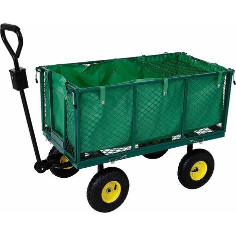 Chariot d'AREBOS Chariot de transport 550kg Chariot de jardin Chariot à outils - Verde