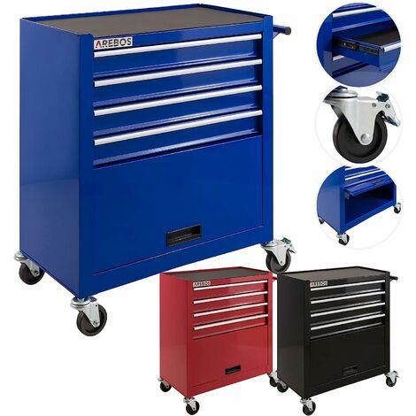 Chariot d'Atelier Chariot à Outils 4 Tiroirs + Grand Compartiment Bleu