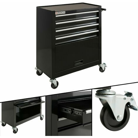 Chariot d'Atelier Chariot à Outils 4 Tiroirs + Grand Compartiment Noir
