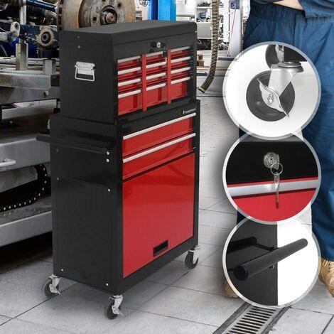 Chariot d'Atelier Servante à Outils Caisse à Roulettes 2 Tiroirs et Coffre 61,5 x 33 x 108,5 cm en Acier Verrouillable