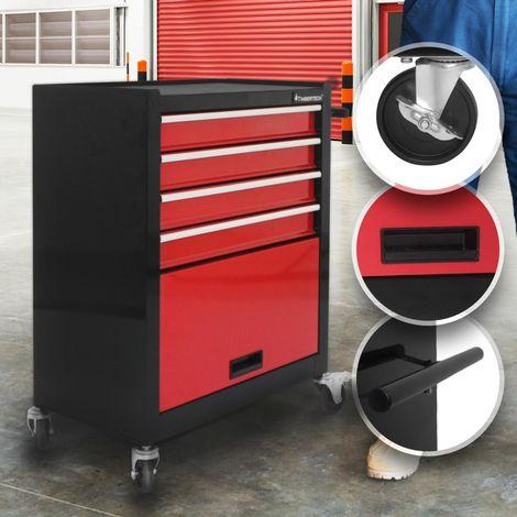 Chariot d'Atelier Servante à Outils Caisse à Roulettes 4 Tiroirs et 1 Compartiment 61,5 x 33 x 76,5 cm en Acier Rouge-Noir