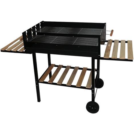 Chariot de barbecue Barbecue à charbon double grill noir roulettes de jardin étagère en bois Harms 504573