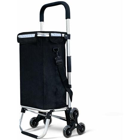 Chariot de courses pliable monte escalier aluminium avec sac isotherme noir