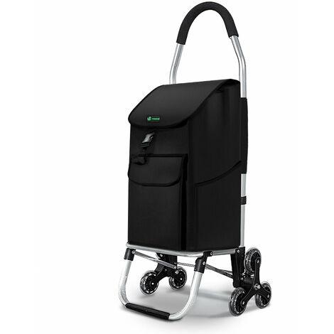 Chariot de courses pliable monte escalier aluminium noir