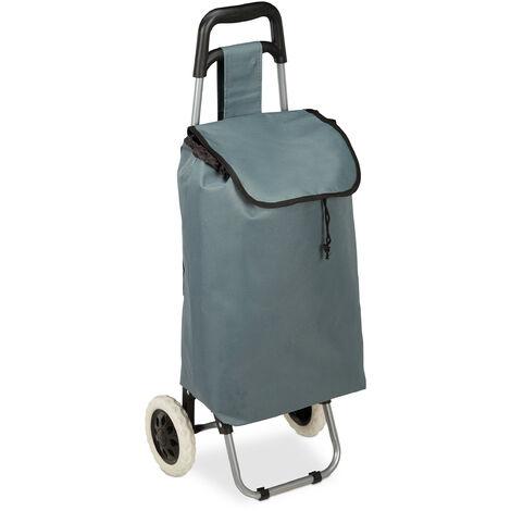 Chariot de courses pliable; sac amovible 28 L,caddie pour achats roulettes HlP 92,5x 42 x 28 cm,gris