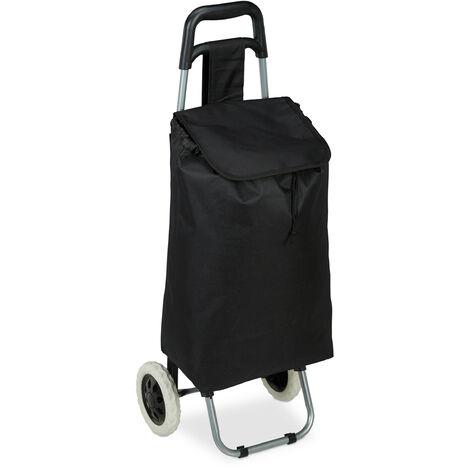 """main image of """"Chariot de courses pliable; sac amovible 28 L,caddie pour achats roulettes HlP 92,5x 42 x 28 cm,noir"""""""
