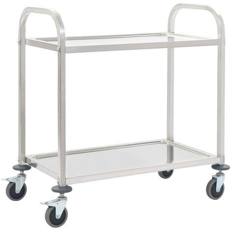 Chariot de cuisine à 2 niveaux 107x55x90 cm Acier inoxydable
