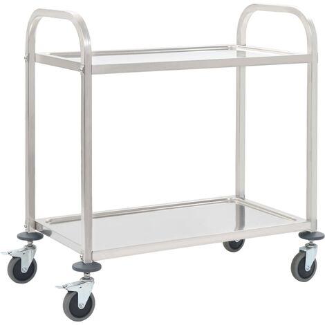 Chariot de cuisine à 2 niveaux 87x45x83,5 cm Acier inoxydable