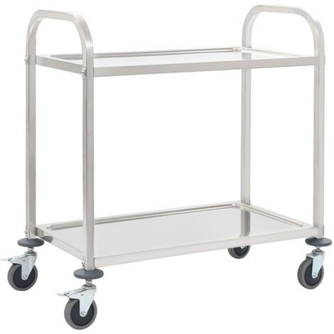 Chariot de cuisine a 2 niveaux 87x45x83,5 cm Acier inoxydable
