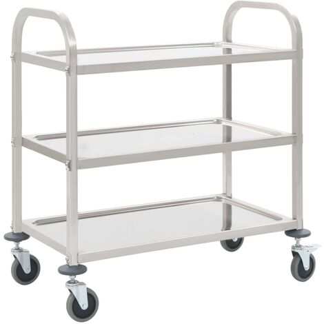 Chariot de cuisine à 3 niveaux 107x55x90 cm Acier inoxydable