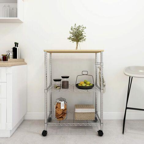Chariot de cuisine à 3 niveaux 61x36x85 cm Fer chromé