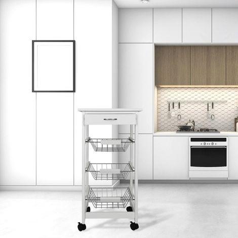 Chariot de cuisine blanc sur roulettes avec 3 paniers de rangement et tiroir hj80217 kandeng - Panier rangement cuisine ...