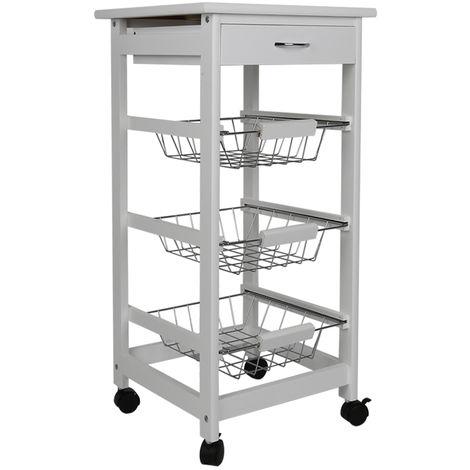 Chariot de cuisine blanc sur roulettes avec 3 paniers en inox de rangement et tiroir