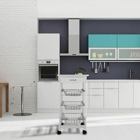 Chariot de cuisine blanc sur roulettes avec 3 paniers en inox de rangement et tiroir - Blanc