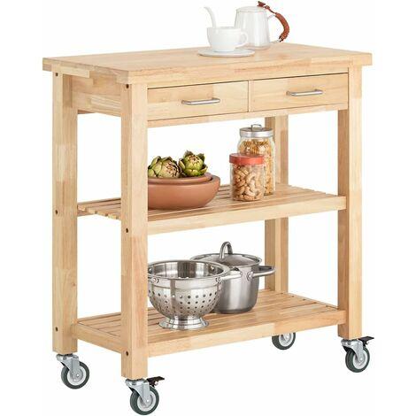 Chariot de Cuisine en bois d'hévéa Kitchen Trolley Desserte roulante avec deux étagères FKW24-N SoBuy®