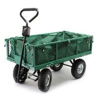 Chariot de jardin à main 300kg avec bâche amovible et grilles remorque de transport charette