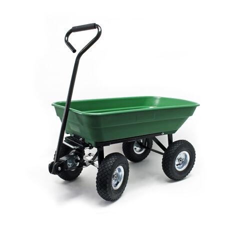 Chariot de jardin à main avec Benne basculante Volume 55L Capacité de charge 200Kg Remorque Brouette