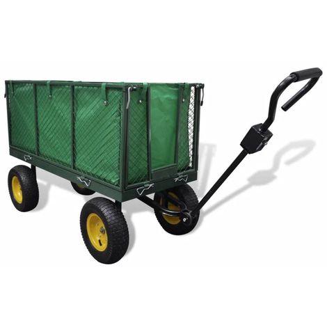 Chariot de jardin à main en métal 128 x 62 x 84 cm - 350 Kg max