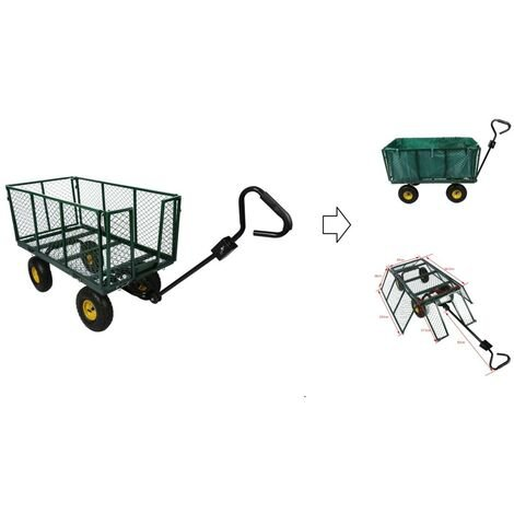 Chariot de jardin à main en métal max 550 kg - bâche PVC amovible