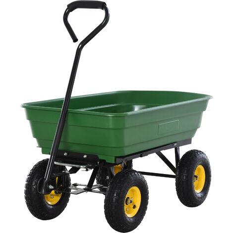 Chariot de jardin a main garden cart truck cuve basculante max. 200 Kg - Vert