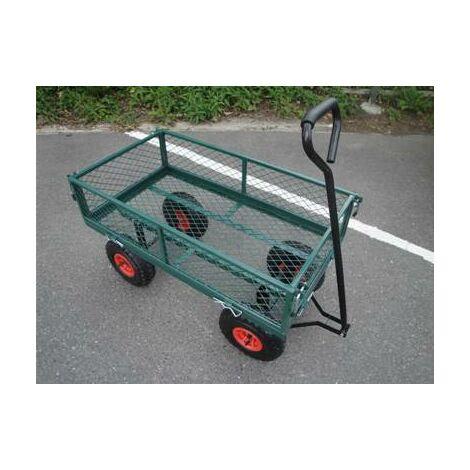 chariot de jardin avec roues gonflables et grille de protection