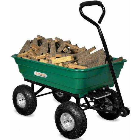 Chariot de jardin charrette pliante bois herbe et liquides 380 Kg PARCHERON