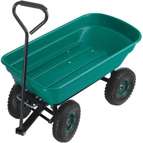 Chariot de jardin CUBBI 52L, 52 kg avec benne basculante - charrette à main, brouette 4 roues, remorque de transport - vert