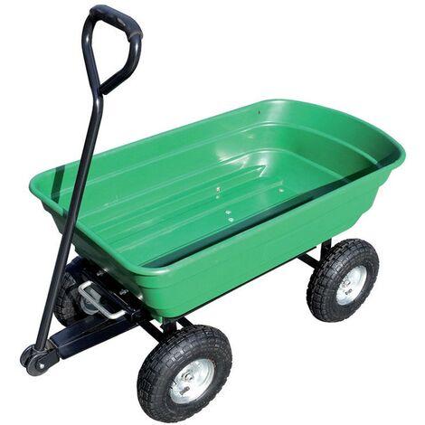 Chariot de jardin cuve basculante en polypropylène 250 kg charge max 4 roues gonflées