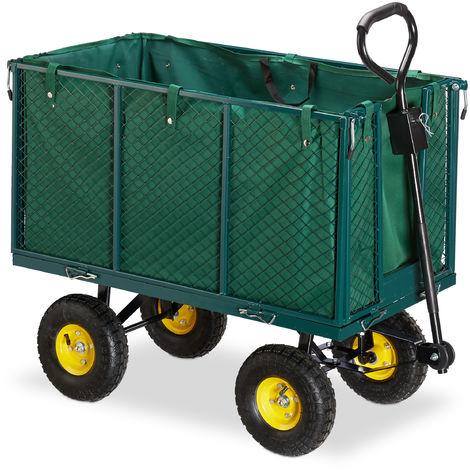 Chariot de jardin, grosse charrette à bras avec côtés rabattables,bâche amovible, avec poignées