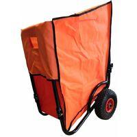 Chariot de jardin pliable 2 roues avec housse Orange 70 cm
