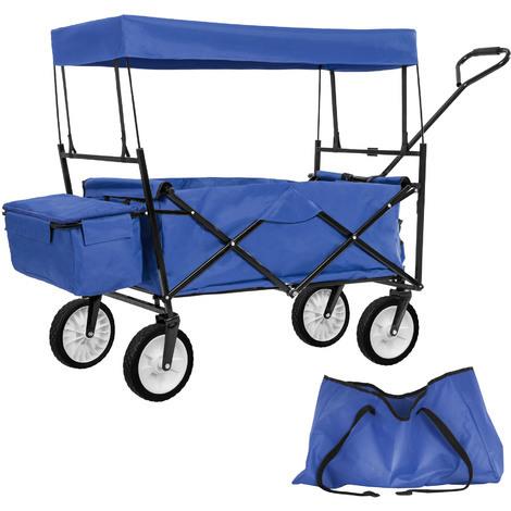 Chariot de jardin pliable 70 kg avec toit + sacoche