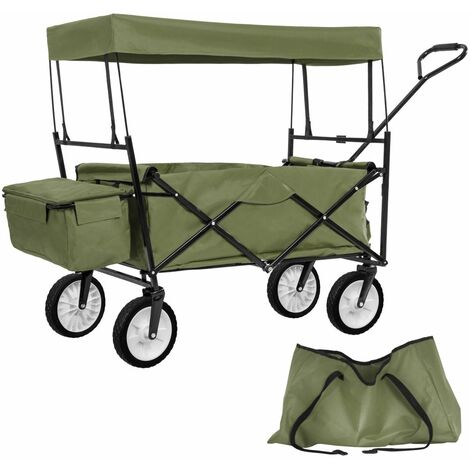 Chariot de jardin pliable 70 kg avec toit + sacoche vert - Vert