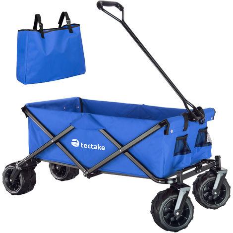Chariot de jardin pliable 80 kg tout-terrain - chariot de transport a main, remorque de jardin, charette a bras sur maison