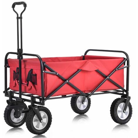 Chariot de Jardin Pliable avec 4 Roues Lisse charge maxi 80kg ( 2 Freins) - Rouge