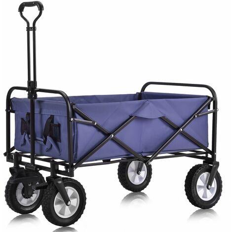 Chariot de Jardin Pliable avec 4 Roues Lisse charge maxi 80kg ( 2 Freins) - Violet
