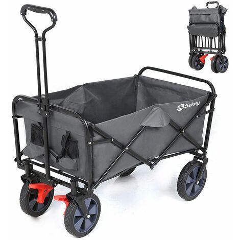 Chariot de jardin pliable avec freins et à main pliant, Noir