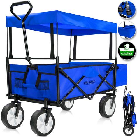 Chariot de jardin pliable avec toit amovible - Chariot a main charrette - Bleu