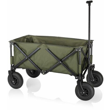 Chariot de jardin pliant Campart HC-0915 – Capacité de 70 kg – Vert Army